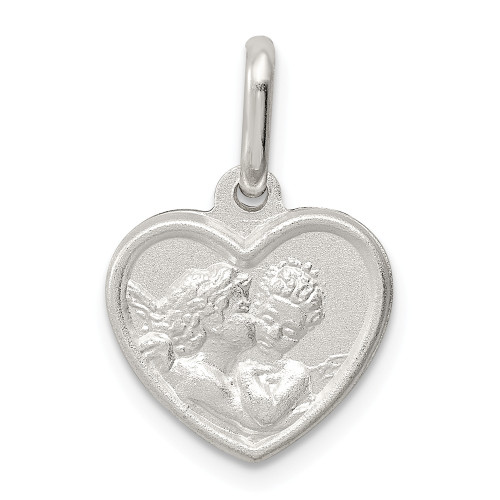Sterling Silver Satin Angel Heart Charm - QC632