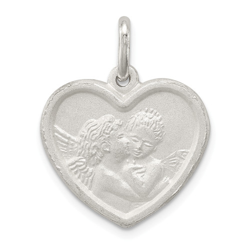 Sterling Silver Satin Angel Heart Charm - QC629