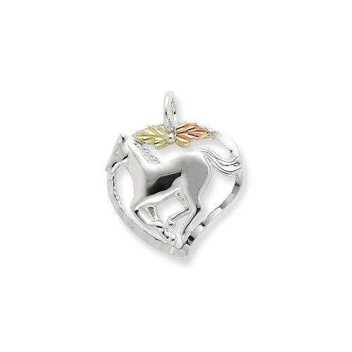 Sterling Silver & 12K Horse In Heart 18In Necklace - QBH168-18