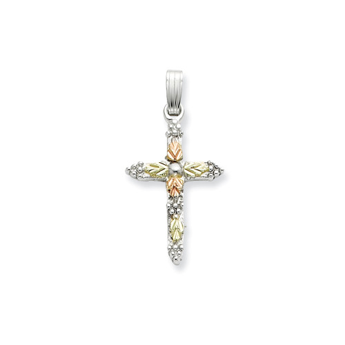Sterling Silver & 12K Cross Necklace - QBH158-18