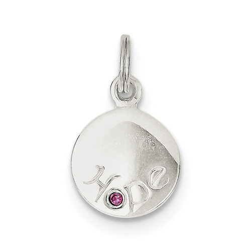 Sterling Silver Hope w/Pink CZ Disc Charm- QP1251