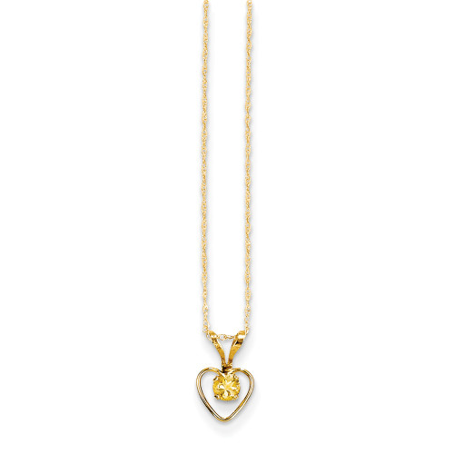 14k Yellow Gold Madi K 3mm Citrine Heart Birthstone Necklace GK413-15