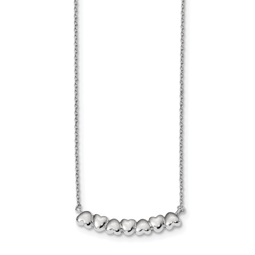 Sterling Silver Rhodium Plated Heart Bar Necklace 16in w/2in ext - QG4363-16