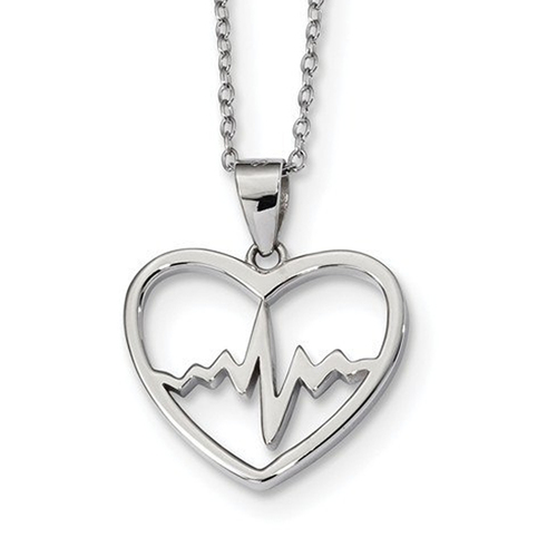 Sterling Silver Heartbeat in Heart Necklace 16in w/2 inch ext - QG4369-16