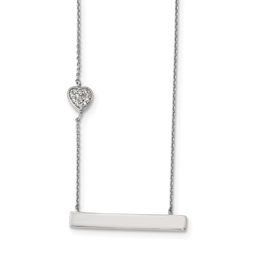 Sterling Silver Rhodium Plated CZ Heart Bar Necklace 16in w/2in ext - QG4357-16