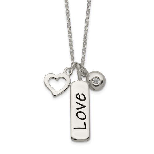 Sterling Silver Polished CZ Love Heart Charm w/ 1 inch ext Necklace - QG4032-16