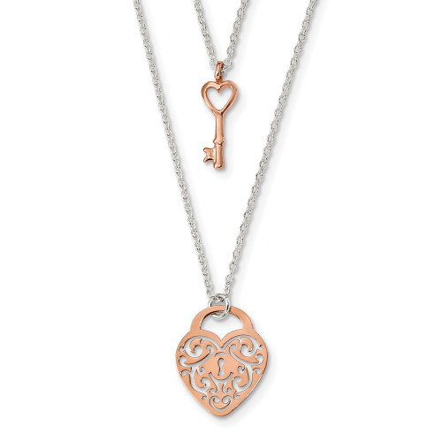 Sterling Silver & Rose-tone Heart Lock & Key 16in Necklace - QG4350-16