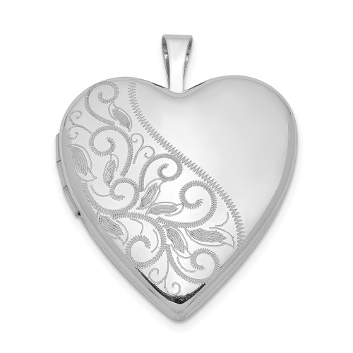 Sterling Silver Rhodium Plated 20mm Swirl & Polished Heart Locket - QLS345