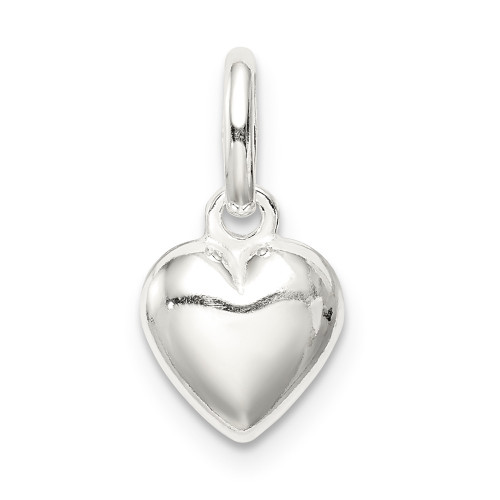 Sterling Silver Polished Puff Heart Charm - QC8466