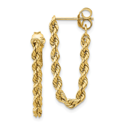14K Yellow Gold Hollow Rope Earrings TH553