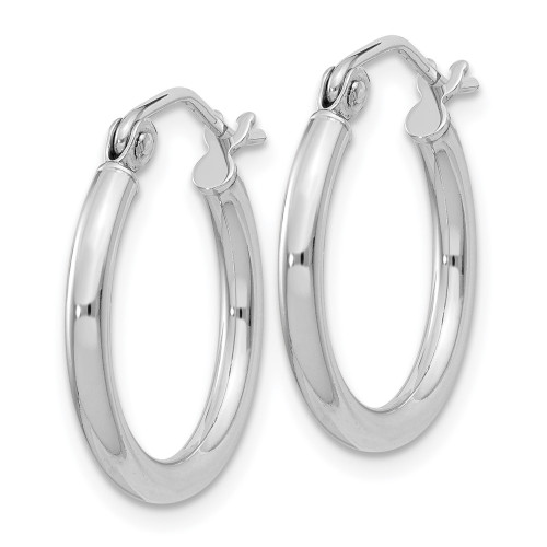 Sterling Silver Rhodium Plated 2mm Hoop Earrings QE4376