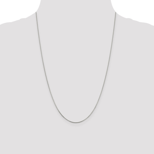 Sterling Silver Rhodium Plated .8mm Box Chain QBX015R-24