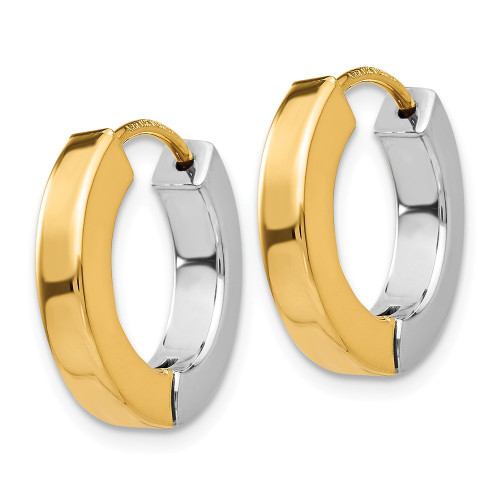 14k Two-tone Gold Polished Hollow Hinged Hoop Earrings TL571