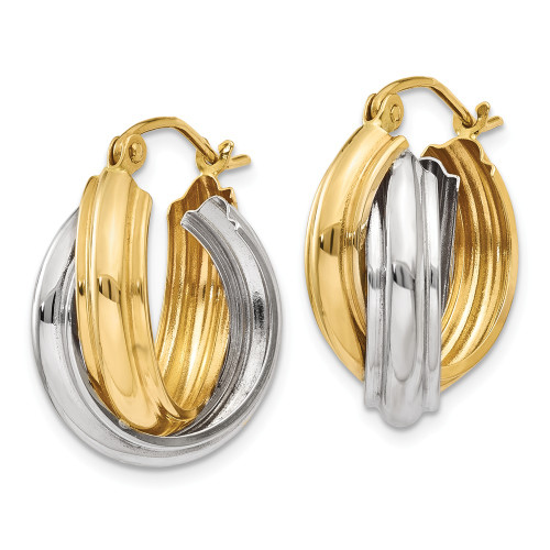 14k Two-tone Polished Double Hoop Earrings Z759
