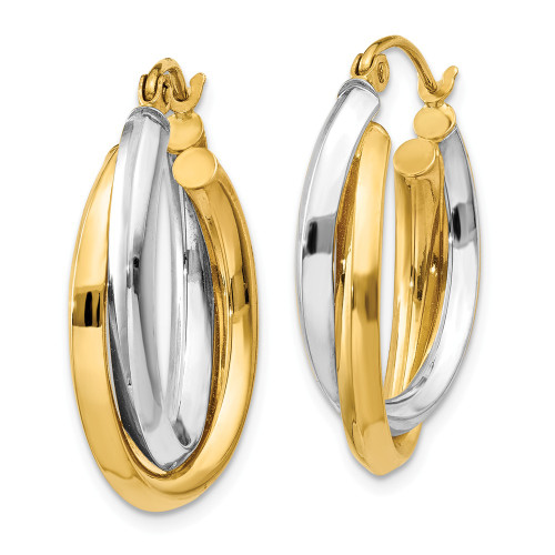 14k Two-tone Polished Double Oval Hoop Earrings TM398