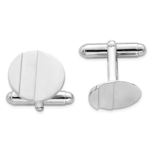 Sterling Silver Rhodium-plated Circle Cuff Links QQ432