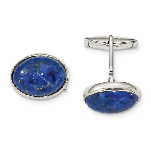 Sterling Silver Cabochon Lapis Cuff Links QQ611