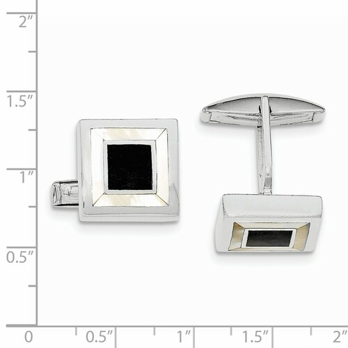 Sterling Silver Rhodium-plated Mother Of Pearl & Enamel Cuff Links QQ570