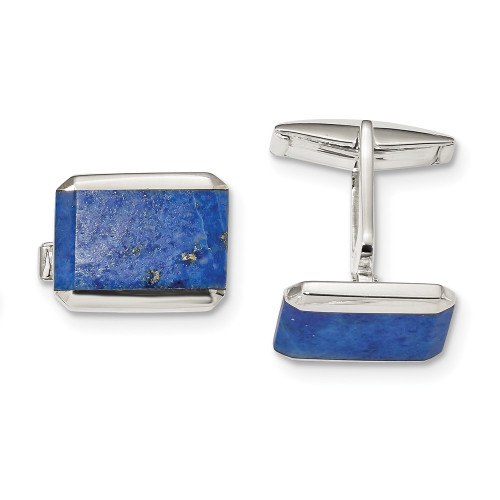 Sterling Silver Rectangle Lapis Cuff Links QQ612