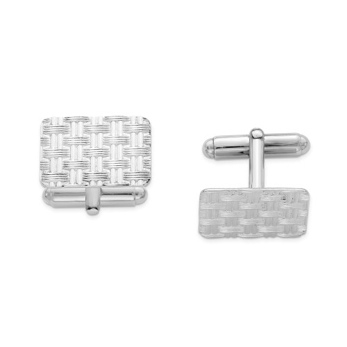 Sterling Silver Rhodium-plated Cuff Links QQ181