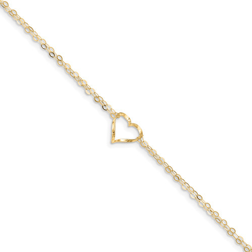14k Yellow Gold Double Strand Heart Anklet ANK173-9