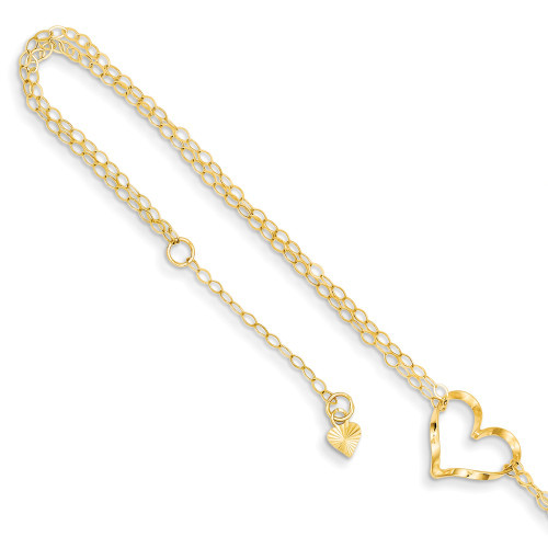 14k Gold Double Strand Heart 9 With 1 Ext Anklet ANK173-9