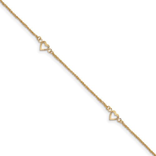 14k Gold Diamond-cut Hearts with 9in 1in ext Anklet ANK218-10