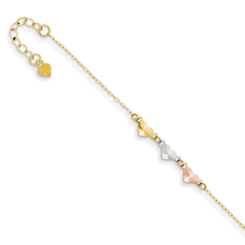 14K Tri-Color Gold Adjustable Heart Anklet ANK175-9