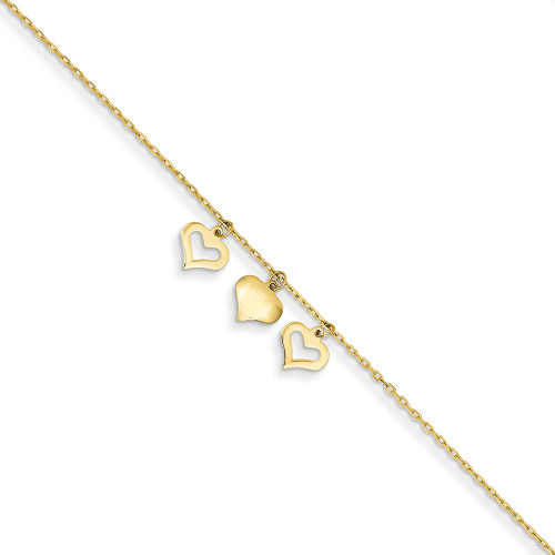 14k Yellow Gold 3 Hearts w/1 inch Extension Anklet ANK233-10