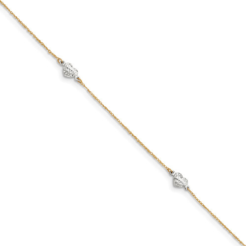 14k Two-tone Gold Puff Heart 9in with 1in ext Anklet ANK219-10