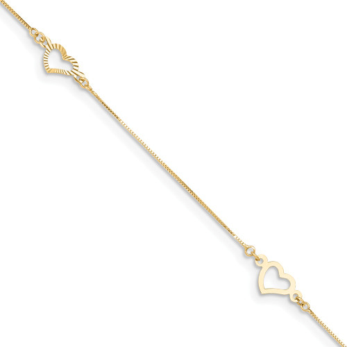 14K Yellow Gold Adjustable Fancy Heart Anklet ANK157-9