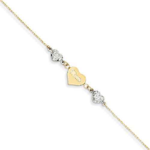 14K Two-tone Gold D/C Puffed Hearts MOM w/ 1in Ext Anklet ANK254-9