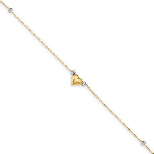 14k Two-Tone Gold Polished Puffed Heart with Beads Anklet ANK48-10