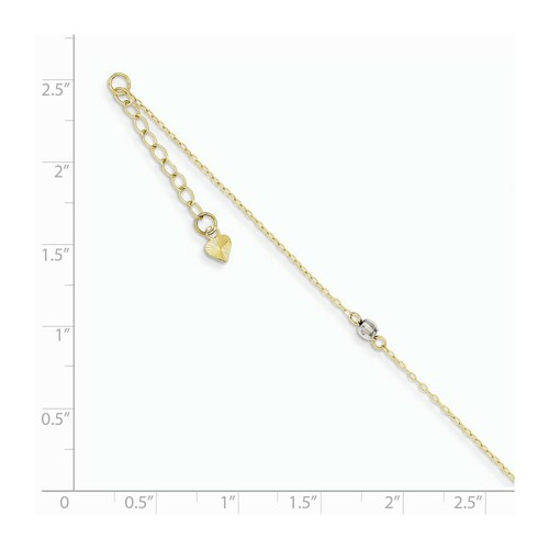 14k Two-tone Gold Mirror Bead Anklet ANK185-9