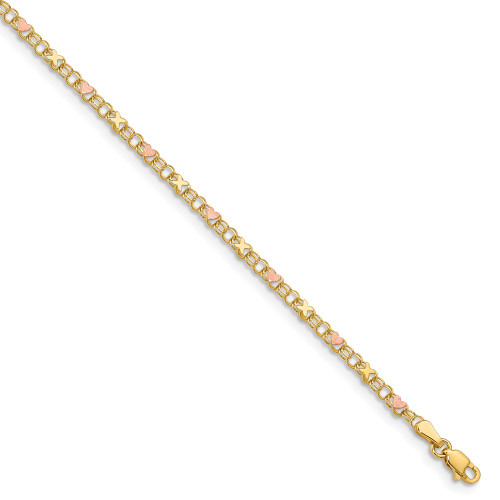 14k Yellow Gold & Rose Rhodium X's & Hearts Anklet ANK69-10