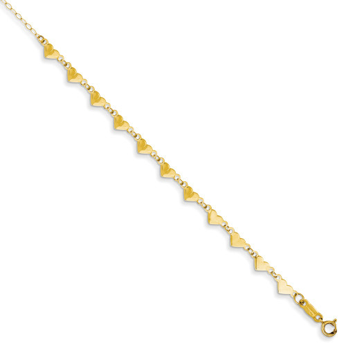 14K Yellow Gold Oval Link Chain with Hearts w/ 1in Ext Anklet ANK245-9