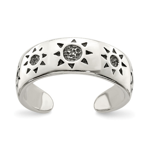 Sterling Silver Antiqued Sun Toe Ring QR829