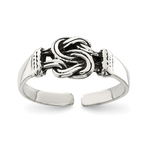 Sterling Silver Antiqued Love Knot Toe Ring QR818