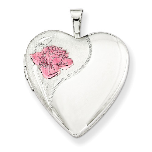 Sterling Silver 20mm with Enameled Rose Heart Locket QLS240-18