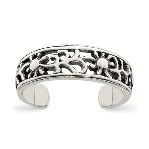 Sterling Silver Antiqued Floral Toe Ring QR767