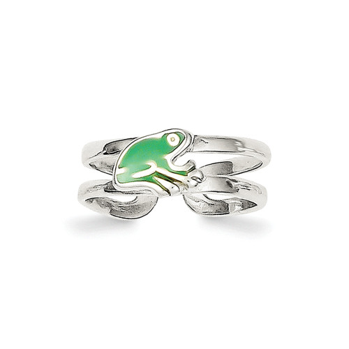 Sterling Silver Green Enameled Frog Toe Ring QR775