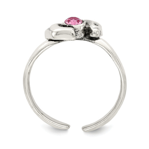 Sterling Silver Antiqued Pink CZ Dolphin Toe Ring QR777