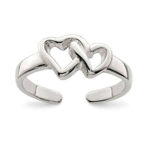 Sterling Silver Solid Heart Toe Ring QR803