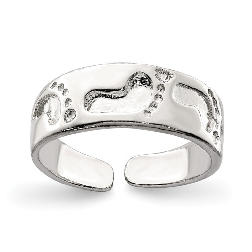 Sterling Silver Foot Print Toe Ring QR625