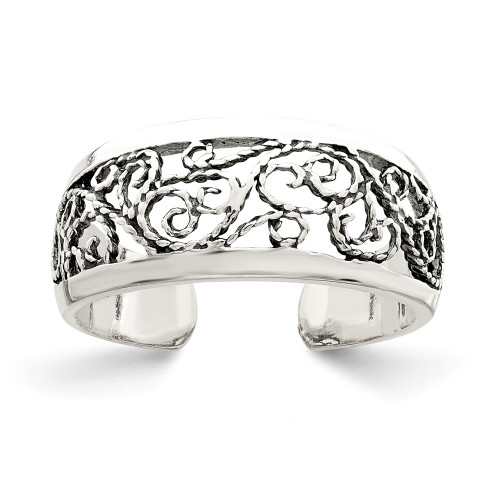 Sterling Silver Antiqued Floral Toe Ring QR787