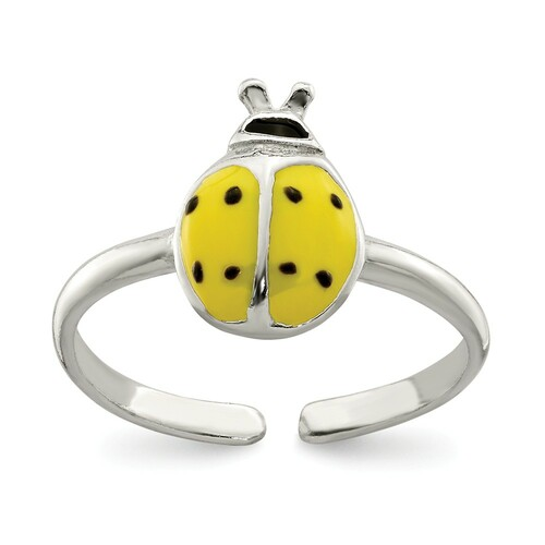 Sterling Silver Enameled & Polished Lady Bug Toe Ring QR2691