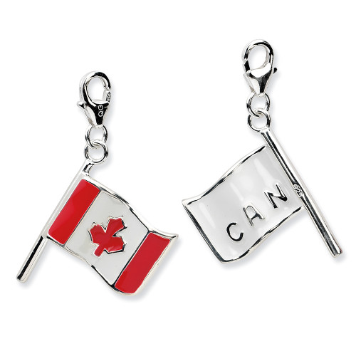 Sterling Silver 3-D Enameled Canadian Flagw/Lobster Clasp Charm QCC559