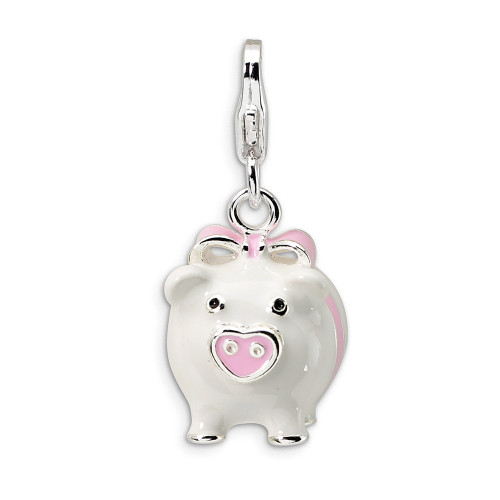 Sterling Silver 3-D Enameled Pig w/Lobster Clasp Charm QCC394