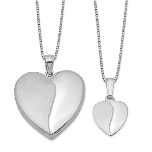 Just like Mommy - Sterling Silver Heart Locket & Pendant QLS442SET
