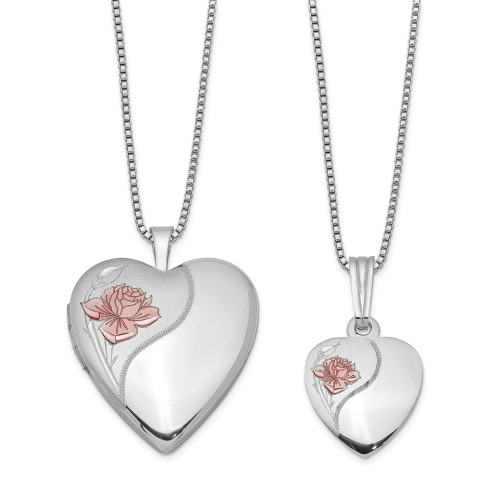 Just like Mommy - Sterling Silver Rose Heart Locket & Pendant QLS448SET